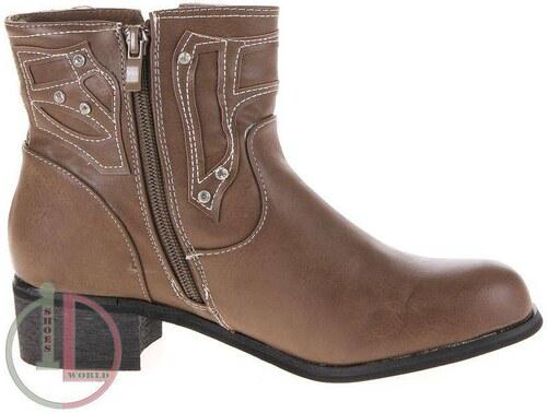 1b16f30662de Kvalitné dámske topánky s bočným zipsom - svetlo hnedá farba - Glami.sk