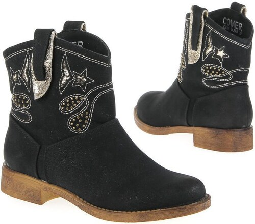 Dámské boty na nízkém podpatku s ručním vyšíváním a poutkem - černá barva -  CW191-black!SET 57fca911e3