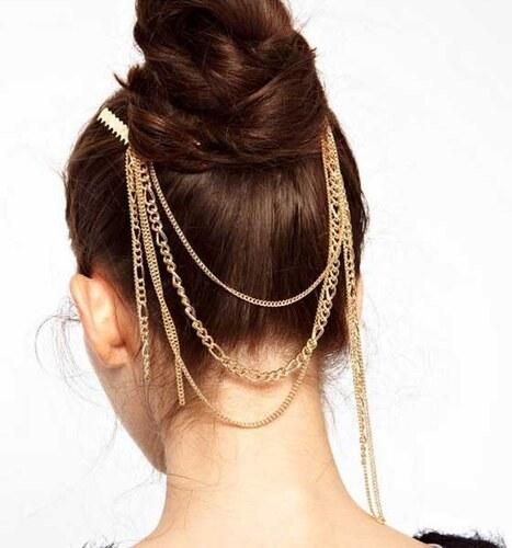 ea8a18895 V&V Zlaté retiazky do vlasov so strapcami - Glami.sk