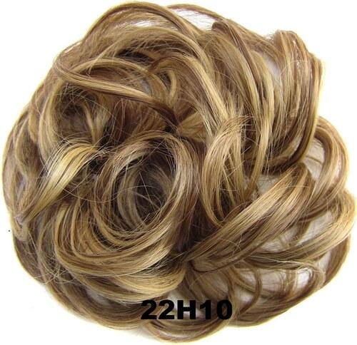Příčesek - drdol na gumičce (22H10 (melír světle plavé a medově hnědé)) -  Světové Zboží c615263385