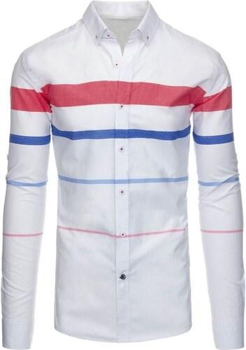 534949e119f Bílá slim fit košile s červenými pruhy - Glami.cz