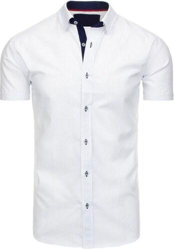 24ffd0983149 VIADI polo Apartné pánska biela vzorovaná košeľa s krátkym rukávom ...