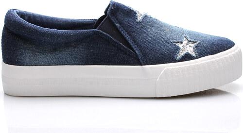 c28b908ccb Tmavě modré jeansové nazouvací tenisky Claudia Ghizzani - Glami.cz