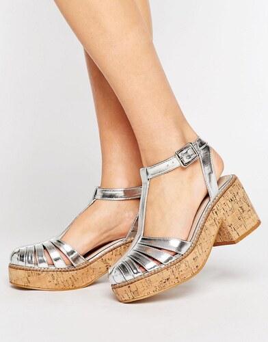 ASOS OASIS Chaussures à plateforme en liège Argenté