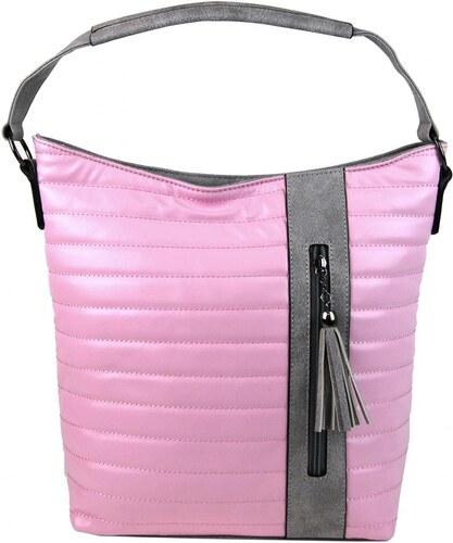 Tapple Prošívaná kabelka crossbody i přes rameno H16203 růžovo-šedá ... 135f73529d5