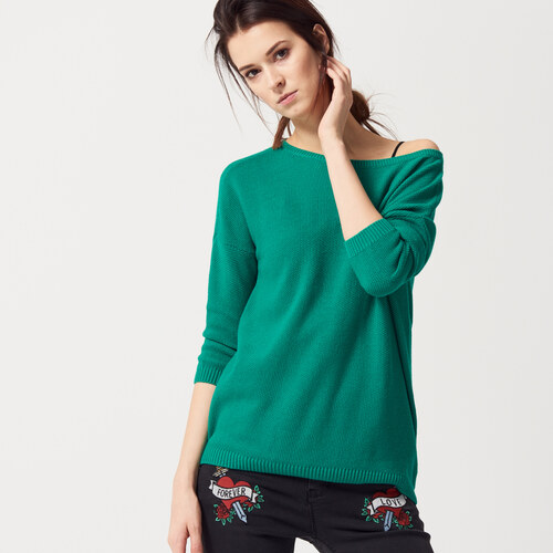 865f7c967ac7 Mohito - Oversize sveter s ozdobnými zipsami - Zelená - Glami.sk