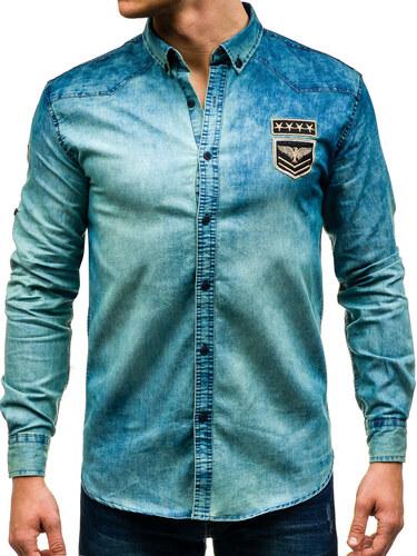 343be7dc79 Tmavomodro-šedá pánska riflová košeľa s dlhými rukávmi BOLF 0992 ...