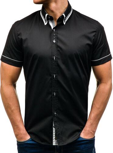 eab613d57f3 Černá pánská košile s krátkým rukávem Bolf 3520