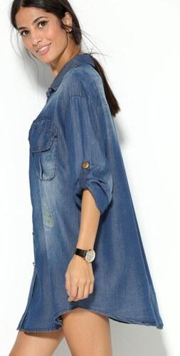 e52d8c1ae894 VENCA Džínsové košeľové šaty modrá - Glami.sk