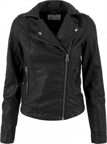 Urban Classics Ladies Leather Imitation Biker Jacket black - Glami.sk d3aa923dfe