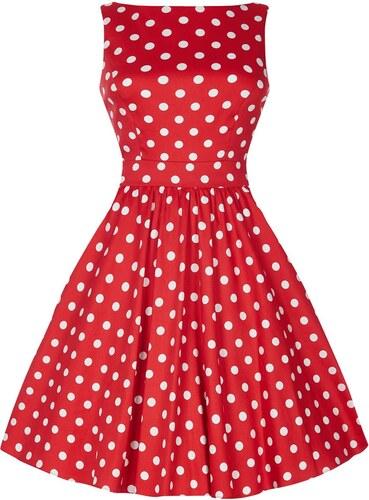 Dámské retro šaty Lady Vintage Tea Červené s puntíky - Glami.cz 1c60f5c20c4