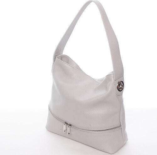 a24cf50b0e2 Dámská kožená kabelka přes rameno světle šedá - ItalY Miriam šedá ...