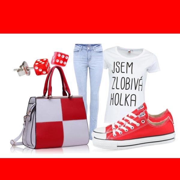 červená a bílá