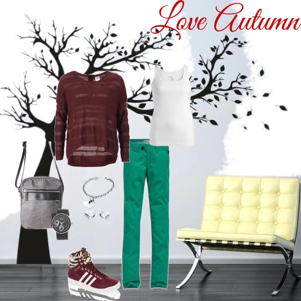 Kalhoty v barvách podzimu bordó