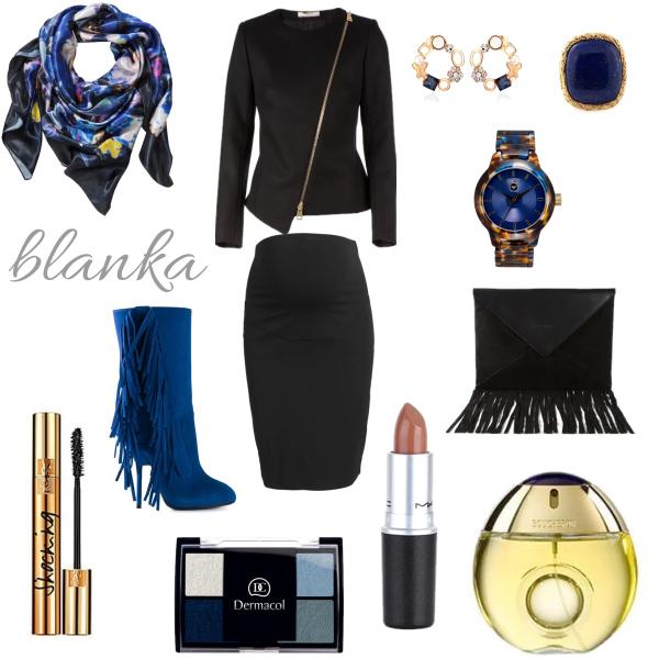 Modré kozačky v outfitu