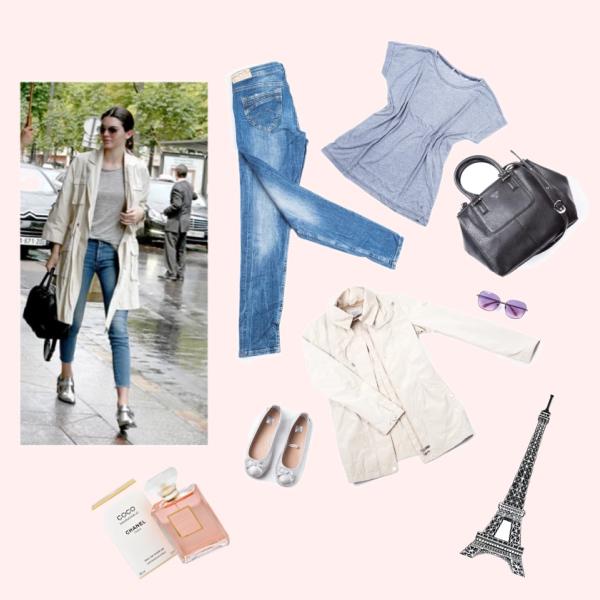 Kendall Jenner deštivý outfit