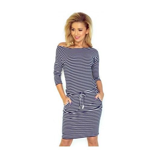 Dámské sportovní šaty v námořnické stylu 1351 tmavě modré s bílou NUMOCO  13-51 - Glami.cz ee78e11092