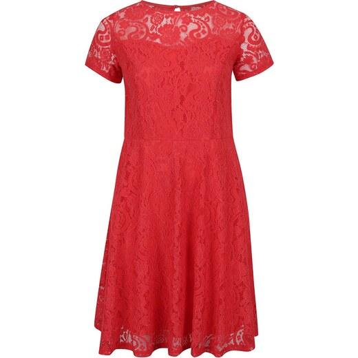 7853f1da193f Červené čipkované šaty s krátkym rukávom Dorothy Perkins Curve - Glami.sk