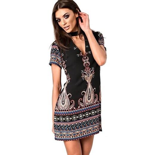 0c05eeb5e90f IKRUSH Čierne šaty Priya s farebnými ornamentami - Glami.sk