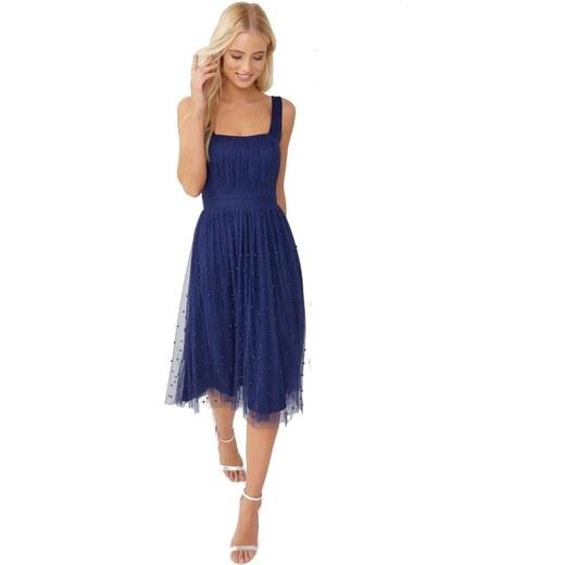 LITTLE MISTRESS Modré šaty s perličkami na midi sukni - Glami.cz b19221d5fb