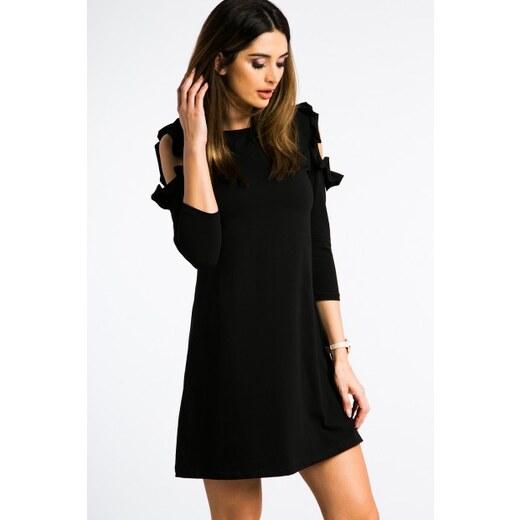40c8ae02af Fasardi Čierne šaty s výrezmi na pleciach a volánmi - Glami.sk