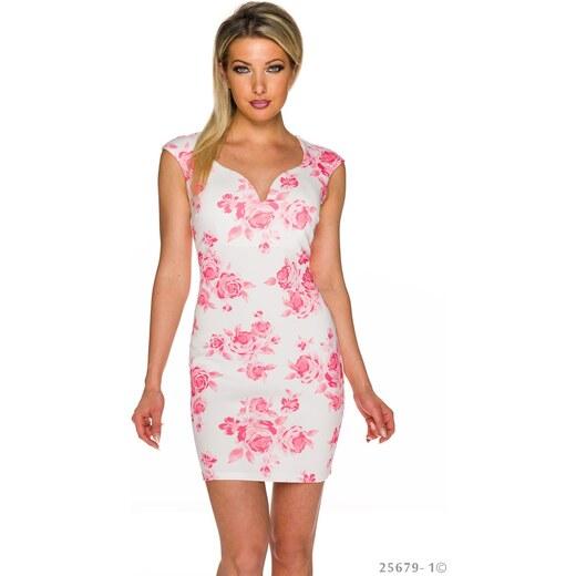 Společenské pouzdrové šaty s květinovým vzorem - bílo-růžové - Glami.cz f53357d2b2