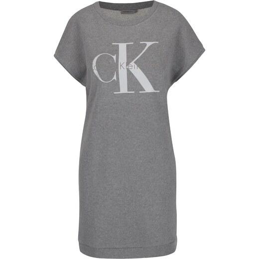 Šedé mikinové šaty s potiskem Calvin Klein Jeans True Icon - Glami.cz 7b7978daeb7