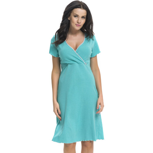 f6b6ba5138ca DN Nightwear Bavlnená tehotenská a dojčiaca nočná košeľa Ruby zelená -  Glami.sk