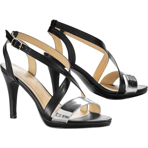 6c50b1d8bd23 Blancheporte Remienkové sandále na podpätku čierna metalická - Glami.sk