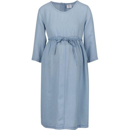 3bc32786058b Svetlomodré rifľové tehotenské šaty s 3 4 rukávmi Mama.licious - Glami.sk