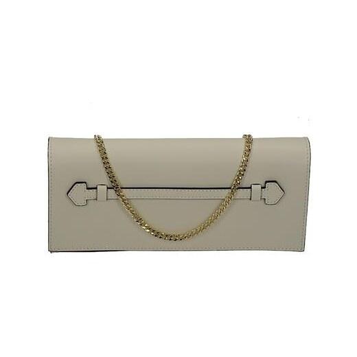 416c3629e0 Vera Pelle Elegantná krémová kožená kabelka s retiazkou - Glami.sk