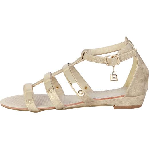 4afce0fa13f4 Dámské sandály s kovovými detaily a malým klínkem Laura Biagiotti Barva   béžová - Glami.cz