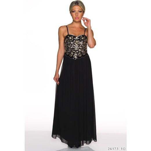 6541c74a947 Dlouhé plesové šaty se zdobeným živůtkem - černé - Glami.cz