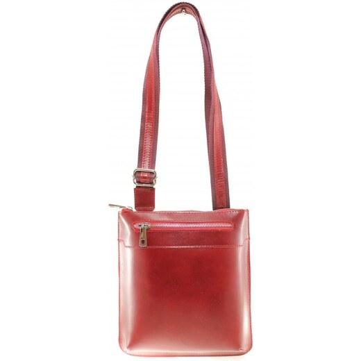 kožená červená bordó crossbody kabelka na rameno Desire VERA PELLE 34154 -  Glami.cz ae4dd24d262