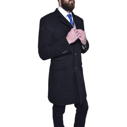Alain Delon Čierny flaušový kabát - Glami.sk 52689b32a45