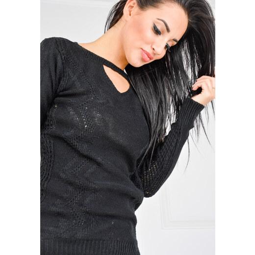 a64ea20ca362 Dámský černý svetr s průstřihem SWET31 odtiene farieb  čierna - Glami.sk