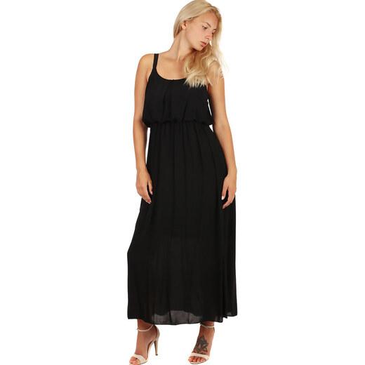 6393c194f834 Glara Jednofarebné maxi šaty s čipkovanými ramienkami - Glami.sk