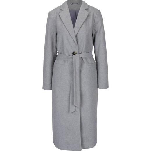 3cb0b8ce8 Svetlosivý dlhý kabát s opaskom Noisy May Minna - Glami.sk