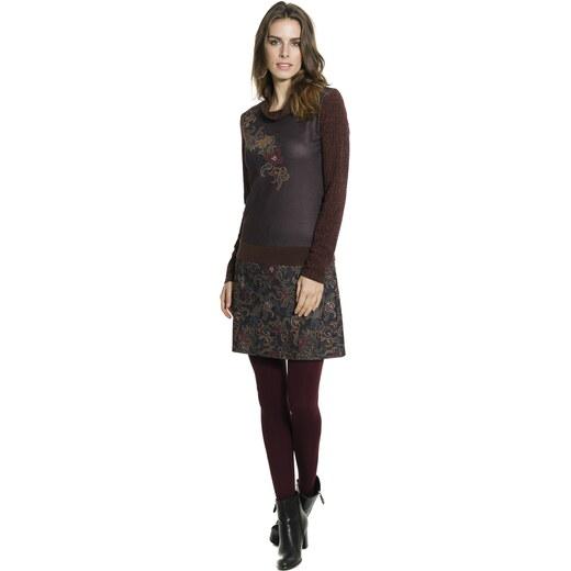 Smash NANCY krátké šaty s dlouhým rukávem hnědé se vzorem - Glami.cz d2117647151