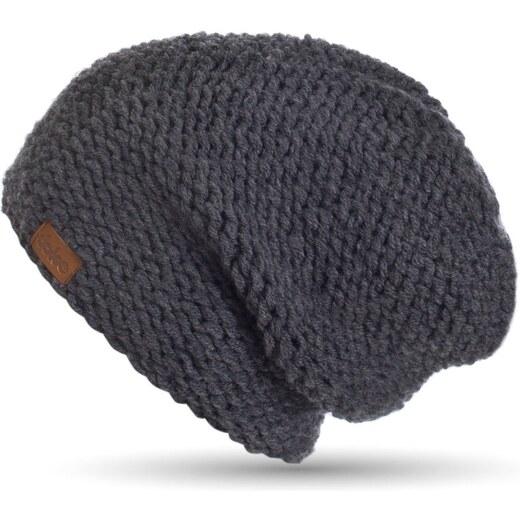 b045cd26c Tmavosivá ručne pletená čiapka DOKE Dark - Glami.sk