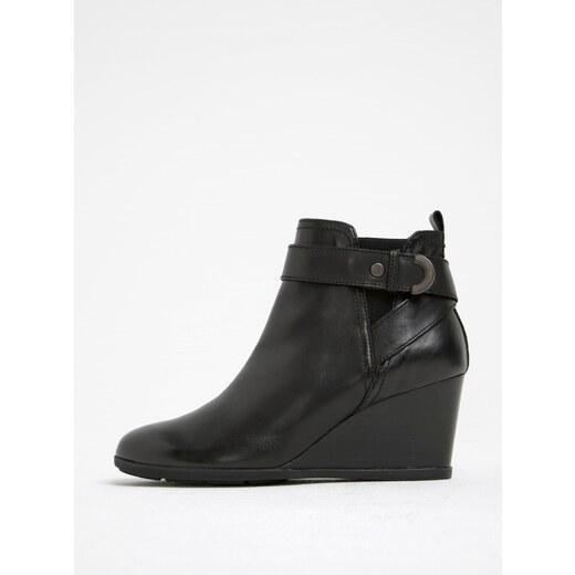 Čierne dámske kožené topánky na klinovom podpätku Geox Inspirat D - Glami.sk c8da278f749