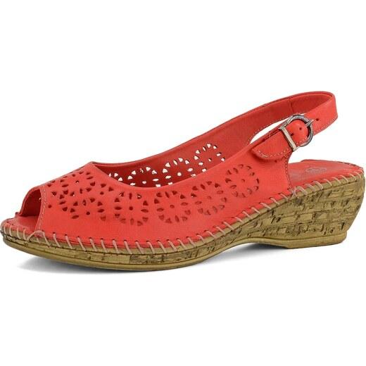 02284bfaa7 Deska Dex Comfort dámské sandály na klínu červené 5263-18 - Glami.cz