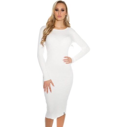 315c4c907161 Koucla Biele dámske úpletové šaty - Glami.sk