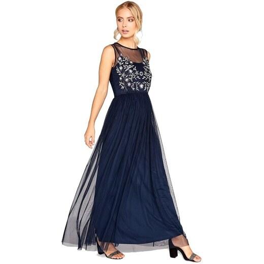 LITTLE MISTRESS Modré šifónové maxi šaty s ozdobným topom - Glami.sk 3d2c49ffbc5