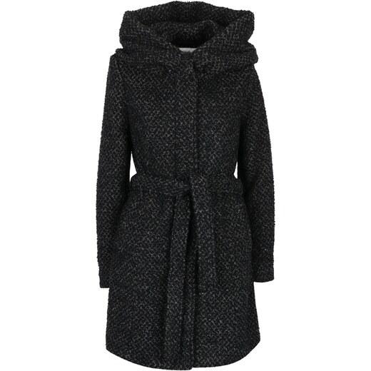 8380965302 Černo-šedý vzorovaný kabát s příměsí vlny a s kapucí VILA Cama - Glami.cz