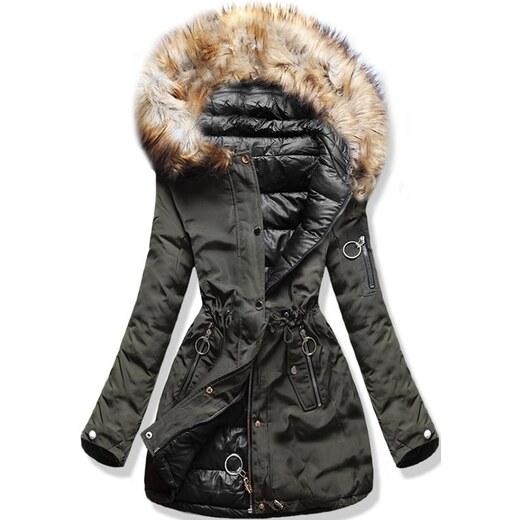 MODOVO Dámska zimná obojstranná bunda s kapucňou W-707 khaki-čierna -  Glami.sk edfd5f6110b