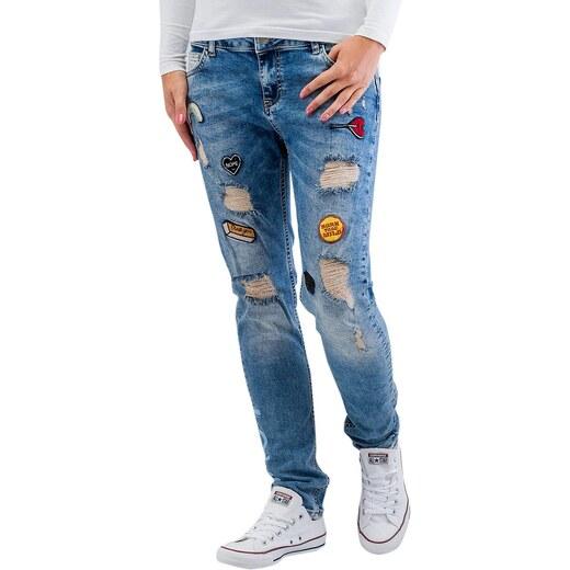 ba81728b3df Just Rhyse kalhoty dámské Roslyn Boyfriend Jeans Blue - Glami.cz