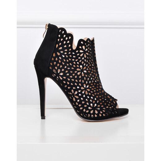 bb4701b1ffa BASIC Černé boty na vysokém podpatku - 3662 - Glami.cz