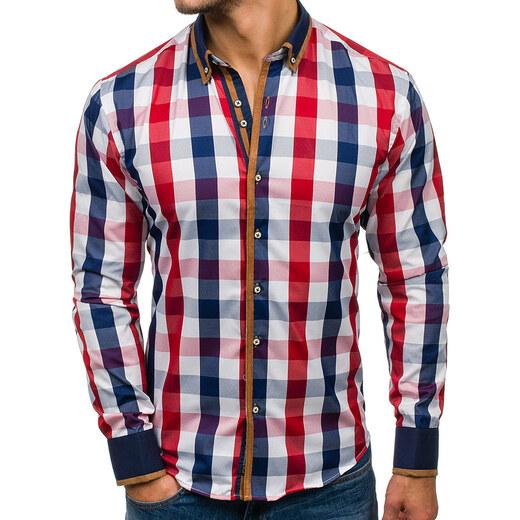 39f3780d1322 Červeno-tmavomodrá pánska kockovaná košeľa s dlhými rukávmi BOLF 5719 -  Glami.sk
