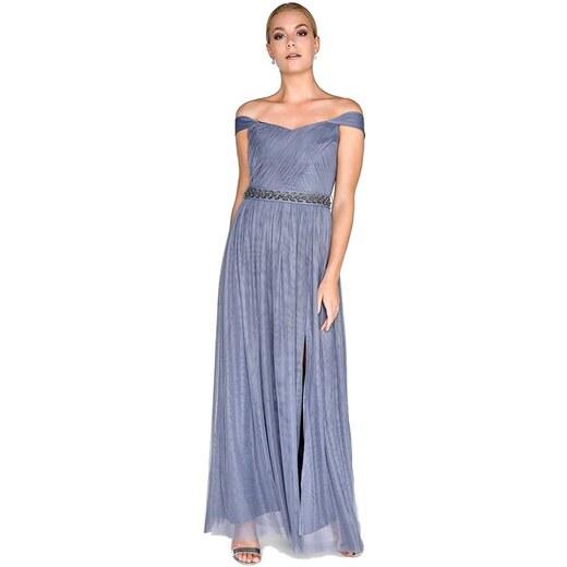 076aff3725b7 LITTLE MISTRESS Spoločenské šaty v šedom levanduľovom odtieni s dekorovaným  pasom - Glami.sk